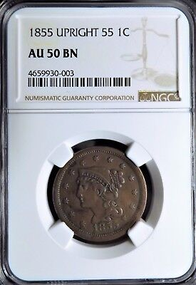 1855 Upright 55 Braided Hair Large Cent NGC AU 50 BN