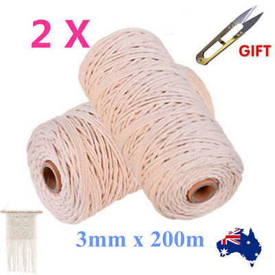 2x 200M 100% Natural Cotton String Twisted Cord Beige Craft 3mm Macrame Rope New