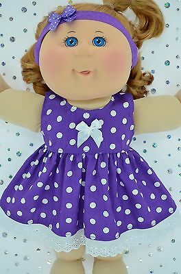 "Play n Wear Doll Clothes For 14""Cabbage Patch PURPLE POLKA DOT DRESS~HEADBAND"