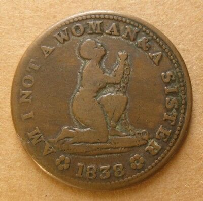 Hard Times Token - HT 81 Low 54 - Am I not a Woman & a Sister - Slave in Chains
