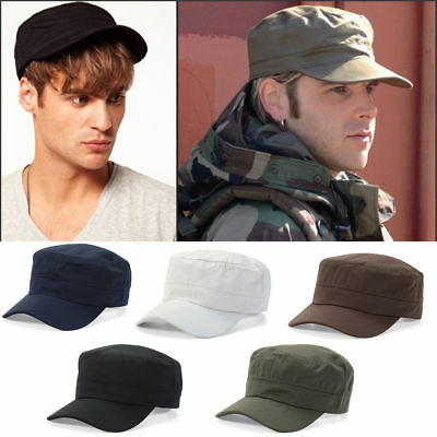 Classic Plain Vintage Army Military Cadet Style Cotton Cap Hat Adjustable Hat US