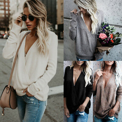 AU Womens V Neck Knitted Jumper Sweater Ladies Casual Long Sleeve Loose Tops NEW