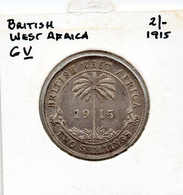 British West Africa KGV 1915 2/- F silver coin