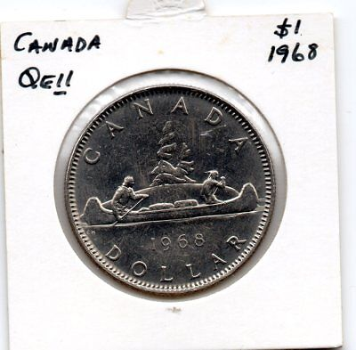 Canada QEII 1968 $1  UNC coin- Paddlers