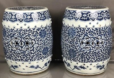 Very Large Pair of Antique Chinese Blue & White Drum Stools Qing Fine Quality