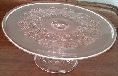 Antique Pink Glass Cake Stand
