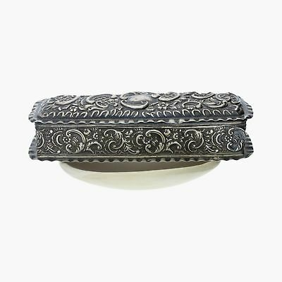 edwardian / sterling silver vintage floral repousse (opens) / jewelry box (76g)