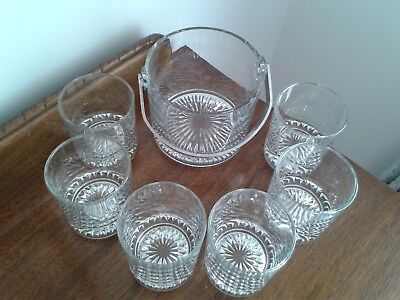 Glass Ice Bucket with 6 whiskey glasses