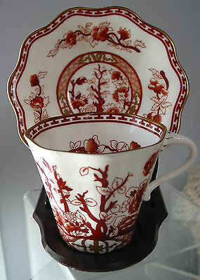 Coalport Cup & Saucer Indian Tree Coral England Very good Vintage /Antique