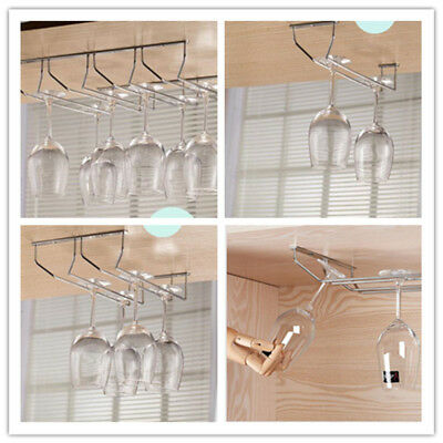 1-5 Rows Stainless Bar Wall Mount Stemware Hanging Wine Glass Rack Holder Shelf