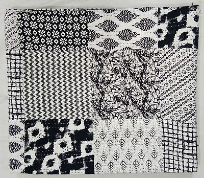 Ethnic Indian Patch Work Black & White kantha Quilt Handmade Queen Size Blacket