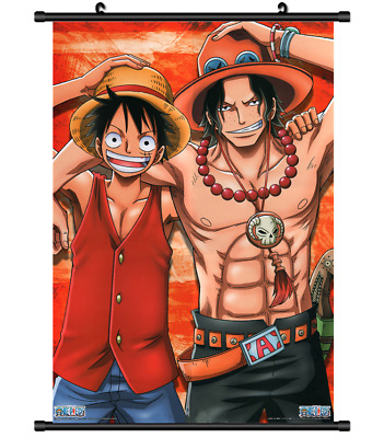 B4009 One Piece Luffy Ace D.Brothers anime manga Wallscroll Stoffposter 25x35cm