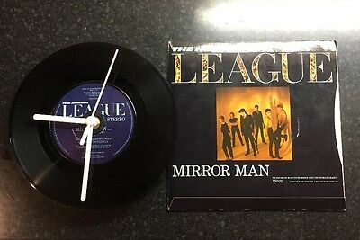 "The Human League Upcycled Record Clock 7"" Vinyl Mirror Man VS522 80s Retro 45"