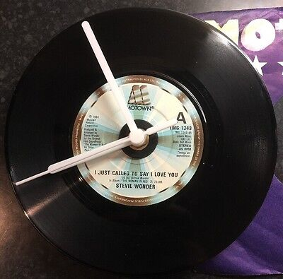 "Stevie Wonder Upcycled Record Clock 7"" Vinyl I Just Called To Say I Love You 80s"