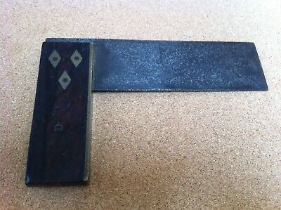Wood and Brass Try Square - Old Vintage Tool Rosewood