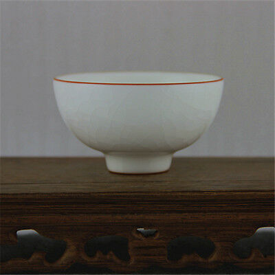Chinese Old Masterpiece Ru Kiln Cracked White Agate Glaze Porcelain Cup
