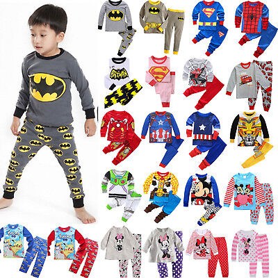 AU Children Kids Boys Girls Cartoon Sleepwear Nightwear Pj's Pyjamas Set Outfits