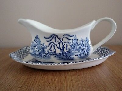 J&G Meakin Willow Gravy Boat and Plate