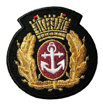Anchor Golden Crown & Laurel Wreath Logo Embroidered Iron on Patch Free Shipping