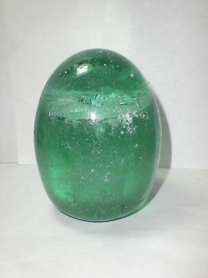 Victorian Green Glass Dump Doorstop Paperweight