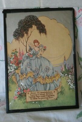 Lovely Art Deco Crinoline Lady Picture In Cottage Garden
