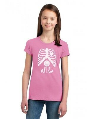 a6da34ecdd Children Skeleton Candy Rib-cage X-Ray Halloween Girls' Fitted Kids T-
