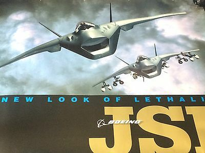 """""""New Look Of Lethality""""  Boeing JSF - Original Concept Advertising Poster 1990's"""