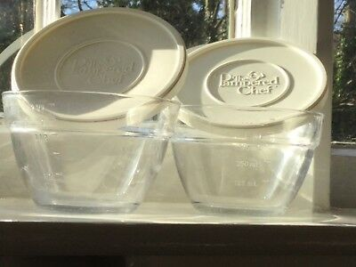 THE Pampered Chef glass prep bowls (2 x 600ml) with white plastic ...