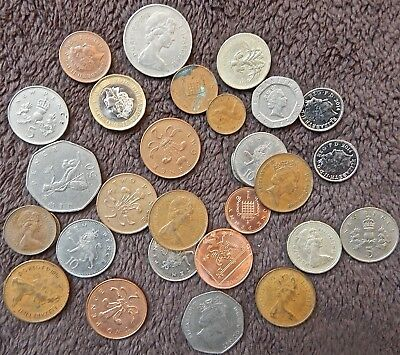 United Kingdom Great Britain lot of 30 world coins decimal 5 pounds 25 pence fv