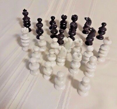 Vintage Lot of 26 Black & White Marble Chess Pieces Made In Mexico
