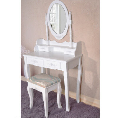 Retro White Dressing Table Vanity Makeup Desk With 7 Drawers 3