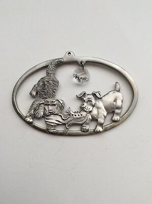 Pewter 2 Dogs And A Shoe, Hanging Decoration With A Crystal