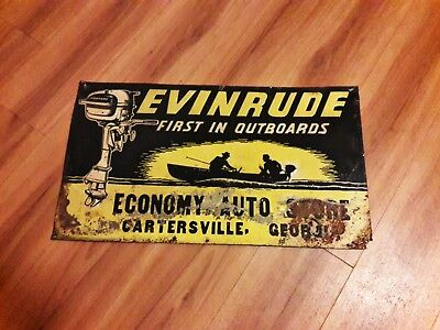 RARE Authentic BIG Embossed 1940s Evinrude Outboard Motor Tin Tacker gas oil