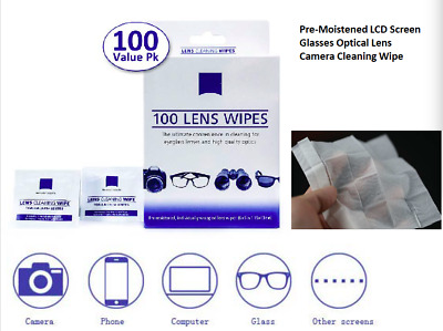 Smart Clean  Lens Cloths Wipes 60 Ct, Glasses Camera Phone Cleaning, New