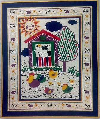 "Handmade New Baby  Quilt Farm Scene With Farm Animals 36"" X 43"" 100% Cotton"