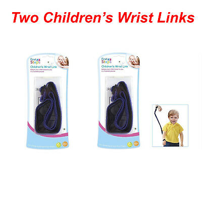 2x Childrens Baby Kids Wrist Link Safety Harness Toddler Wrist Strap Hook & Loop