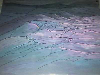 Masters of the Universe Animation Hand Painted Background Cel Castle Grayskull