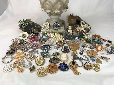Huge Job Lot of 76 Vintage Brooches. Ideal for Resale