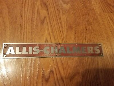 "Vintage ALLIS-CHALMERS Name Plate Metal  8 3/4"" x 1 3/4"""