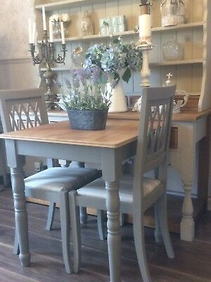 Shabby Chic Farmhouse Dining table and 2 Chairs In Laura Ashley Fabric