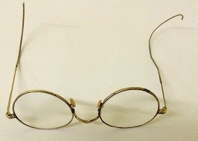 Vtg Antique 12K Gold Filled Wire Rim Bifocal Glasses Has Two Different Arms