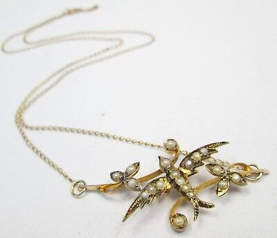 Victorian Antique 9ct Gold Seed Pearl & Swallow Sweetheart Necklace