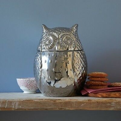 Metallic Owl Cookie Jar from West Elm, Very Good Cond, Height 10.5''