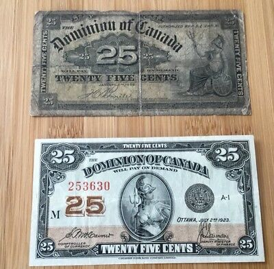two twenty five cent small notes, dominion  of canada, 1900 and 1923