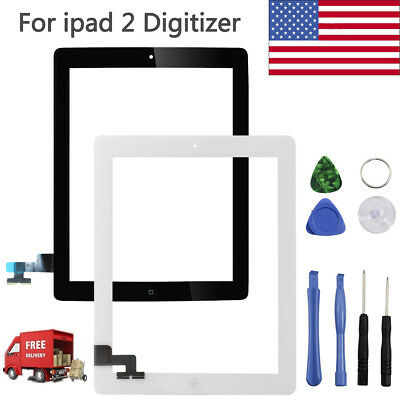 Digitizer Touch Screen Replacement + IC Chip + Home Button Flex Cable For iPad 2