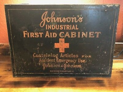Vintage Johnson & Johnson Industrial First Aid Cabinet - First Aid Kit