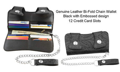 Mens Black Bi-Fold Chain Wallet Biker Trucker Genuine Leather 12 Card Slots 7.5""