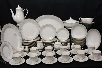 89pc Vintage Noritake Ivory China SUSAN ANNE Floral #7273 Service for 12, Japan