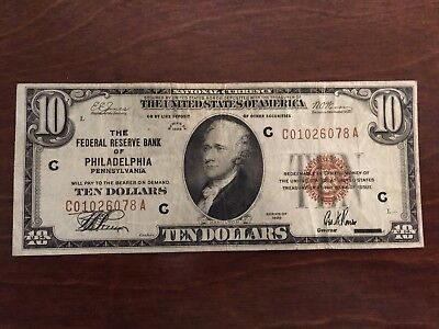 $10 1929The Federal Reserve Bank of Philadelphia Pennsylvania National Currency