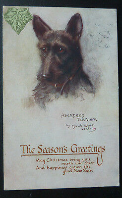 Dog Postcard. Aberdeen Scottish Terrier, Artist Maud West Watson